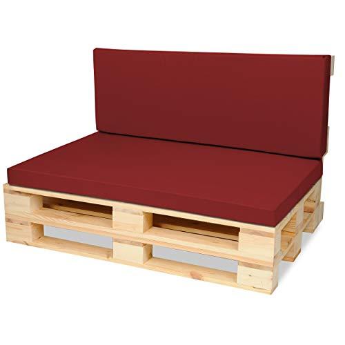 SuperKissen24. Materasso Cuscino per Bancale Divano Pallet 120x80 con Schienale 120x40 cm Seduta Impermeabile e Comodo per Divanetti da Esterno - Rosso Scuro
