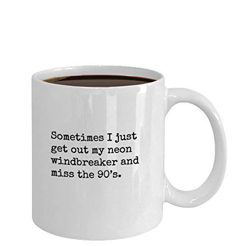 Mug-90's retro neon windbreaker mug, Funny 90's coffee gift, 11oz Funny Coffee Mug