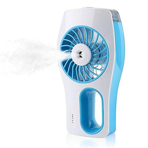 Ventilador portátil de nebulización de agua Ventilador de enfriamiento Ventilador manual de batería con humidificador de niebla y ventilador alimentado por USB para belleza, hogar, oficina y viajes