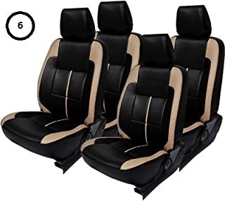 Khushal Leatherite Car Seat Covers Designer Front and Back Seat Cover Set for Hyundai I10 Grand Black/Beige with Free Steering