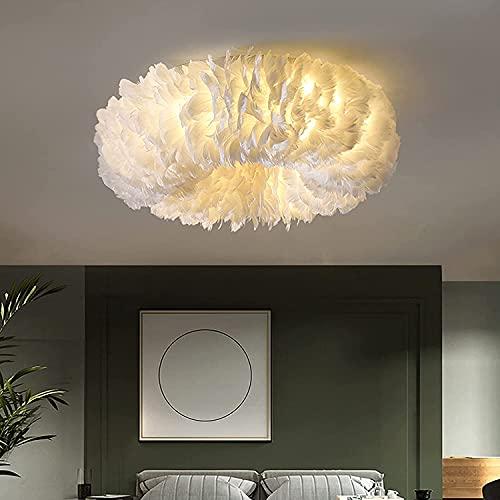 Lámpara de techo de plumas blancas, moderna, regulable, luz LED E27, iluminación de techo brillante, para sala de estar, pasillo, dormitorio, cocina, salón, lámpara de techo