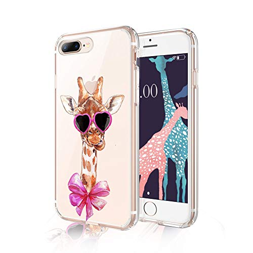 Cocomong Giraffe Phone Case Compatible with iPhone 7 Plus Case Giraffe iPhone 8 Plus Case for Girls Cute Giraffe Gifts for Women Men Boys, Clear Soft TPU Cover Funny Thin Slim Fit Protective 5.5'