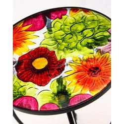 "Evergreen Garden Outdoor-Safe Round Summer Splash Glass and Metal Side Table - 12"" L x 12"" W x 22"" H"