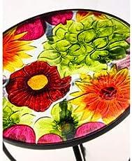 "Evergreen Garden Outdoor-Safe Round Summer Splash Glass and Metal Side Table - 12\\"" L x 12\\"" W x 22\\"" Indoor Outdoor Side Tables for Your Patio, Lawn, Garden or Home Décor"