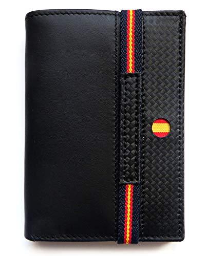 Cartera de Piel Negra con Bandera de España   Fabricado con Cuero auténtico   Billetera de Caballero, Tarjetero Monedero para Hombre   Producto Made in Spain (Vertical Detalles Marino)
