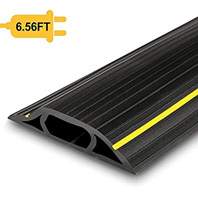 Floor Cable Cover, 6.5 Ft Floor Cord Protector 3 Channels Contains Cords, Cables and Wires, Perfect for Office, Home, Workshop, Warehouse, Concert, or Other Outdoor Surroundings