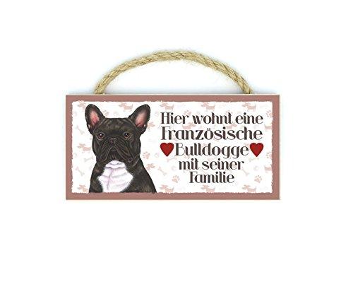 Französische Bulldogge (Hier wohnt eine..) Haustier Kühlschrankmagnet aus Holz mit Kordel 26