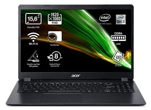 "Acer Aspire 3 - Portátil 15.6"" FullHD (Intel Core i3-1005G1, 8GB RAM, 512GB SSD, UMA Graphics, Sin Sistema Operativo), Color negro - Teclado QWERTY Español"