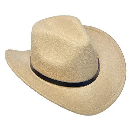 COMVIP Sombrero de vaquero unisex de ala ancha de fieltro para disfraz de sheriff occidental, ranchero, jazz, fedora