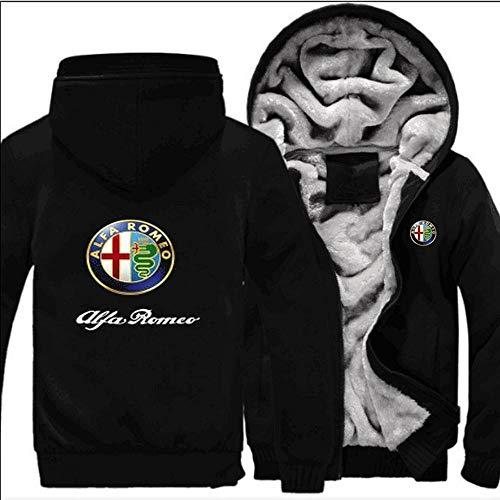 Uomo Felpe Giacche Nuova Alfa Romeo Stampa Casuale Uniformi-Inverno Caldo con Cappuccio di Baseball Zip Hooded Manica Lunga Sweatshirt- Teenager Regalo Black-Medium