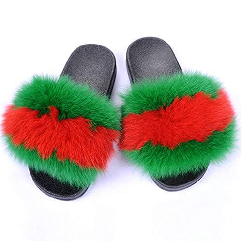 Verano de las señoras de piel de zorro zapatillas de piel de zorro realmente zapatillas de pelo femenino peludo interior zapatillas casual playa sandalias mullidas zapatos de felpa