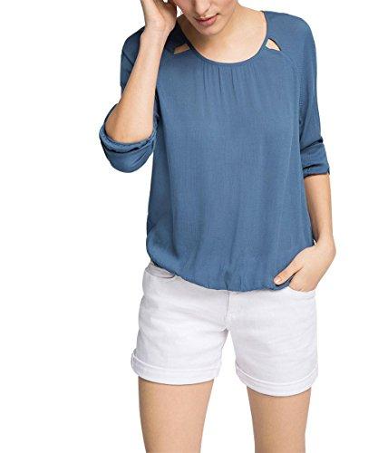 edc by ESPRIT Damen 026CC1F010-mit Webmuster Bluse, Blau (Grey Blue 420), 40 (Herstellergröße: L)