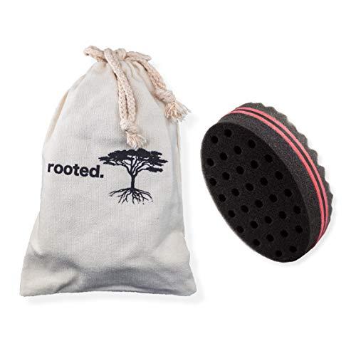 rooted.® DAS ORIGINAL Premium Double Side Magic Twist and Curl Hair Sponge Haarschwamm Haarbürste für Afro Locken inklusive Baumwollbeutel zum Reisen und Aufbewahren