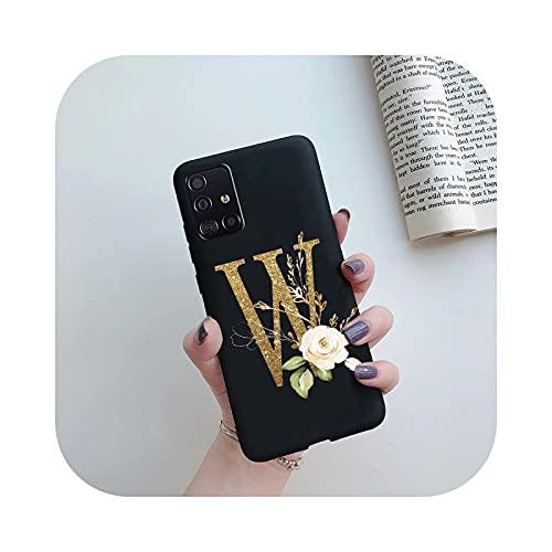Carcasa para Samsung Galaxy A71 A51 A715F A515F A 71 51 51 funda antigolpes, diseño de letras, silicona suave TPU, color negro