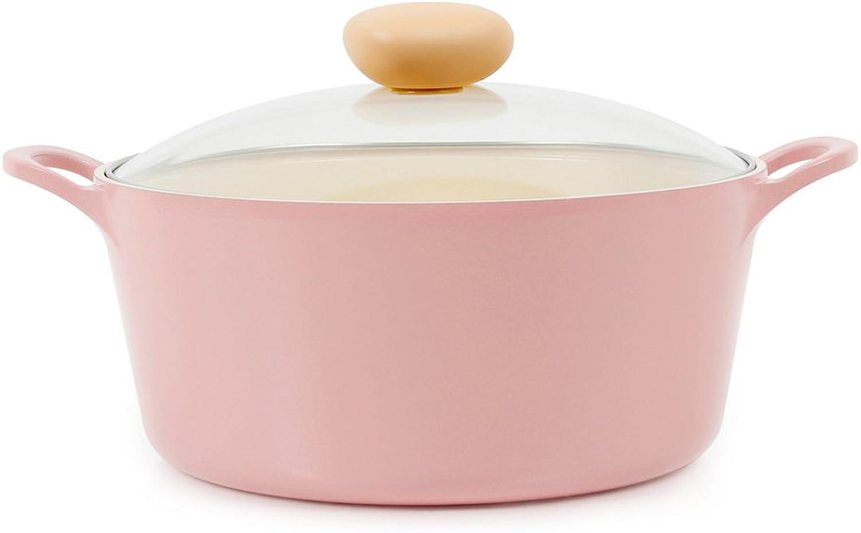 Neoflam Retro 5QT Ceramic Nonstick Stockpot w  Glass Lid, Pink