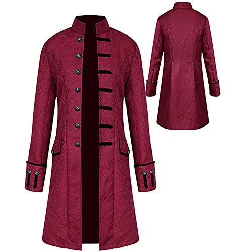 Mens Vintage Steampunk Jacket, Embroidered Victorian Tailcoat Medieval Gothic Vampire Cosplay Halloween Costume (XX-Large, Wine Red)