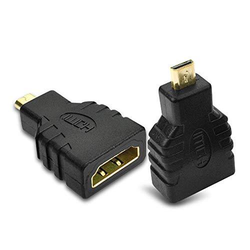 SAIBANGZI Adaptador Micro HDMI A HDMI Pack De 2 HDMI Micro D Enchufe A EstáNdar HDMI A Clavija Adaptador Convertidor Chapado En Oro para TV LCD Plasma Proyector Negro