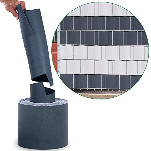 10x Sichtschutzstreifen PP Einzelstreifen (10x anthrazit) - Spenderrolle Sichtschutz für Doppelstabmatten - Hemmdal PRO - Stärke 1,1 mm - Zaun Sichtschutz 25,3 m Doppelstabmattenzaun hart