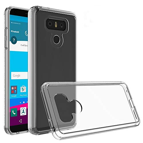 ZAORUN Funda protectora para teléfono móvil compatible con LG G6 Acrílico + TPU Carcasa protectora transparente (Negro) (Color: Transparente)