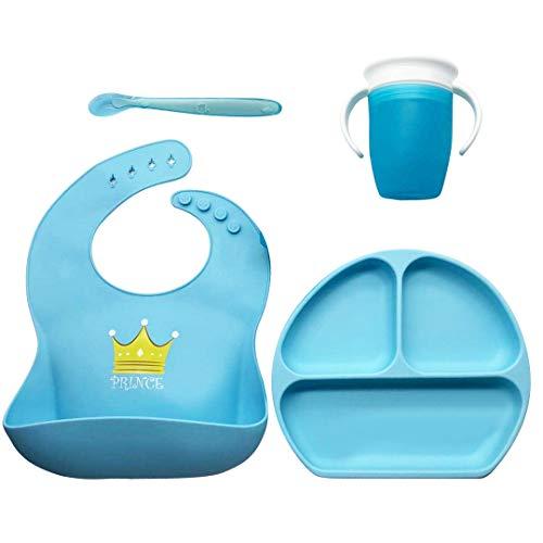 Vajilla para Bebés y Niños, Set: Plato con ventosa, Vaso antiderrame 360 aprendizaje, Babero impermeable y Cuchara, ideal para Baby Lead Weaning (Azul)