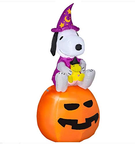 Halloween Airblown Inflatable Snoopy as Wizard with Woodstock on Pumpkin 5FT Tall by Gemmy Industries