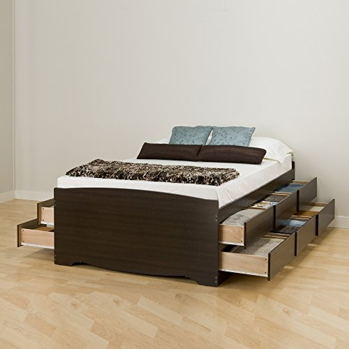 Prepac -K Tall Queen Sonoma Platform Storage Bed with 12 Drawers, Espresso