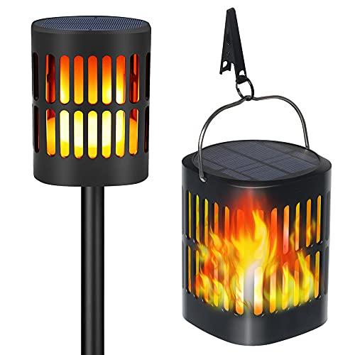 TEQStone Lampade da giardino solari per esterni, Luci a torcia a LED a fiamma solare, Effetto fiamma tremolante realistico, IP65 impermeabile con ricarica USB (confezione da 2)