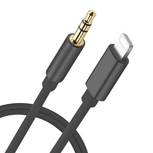 [Apple MFi Certified] Lightning to 3.5mm AUX Audio Stereo Cable, AUX Cord for iPhone, Compatible with iPhone 11/11 Pro/XS/XR/X/8/7/iPad, iPod to Car Stereo, Speaker, Headphone, Support iOS (Black)