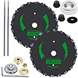 CZS 2 Pack 9 Inch 20T Chainsaw Tooth Brush Blades for Cutter, Trimmer, Weed Eater, Lawnmower (2 Pack Different Adapter Kit Included)