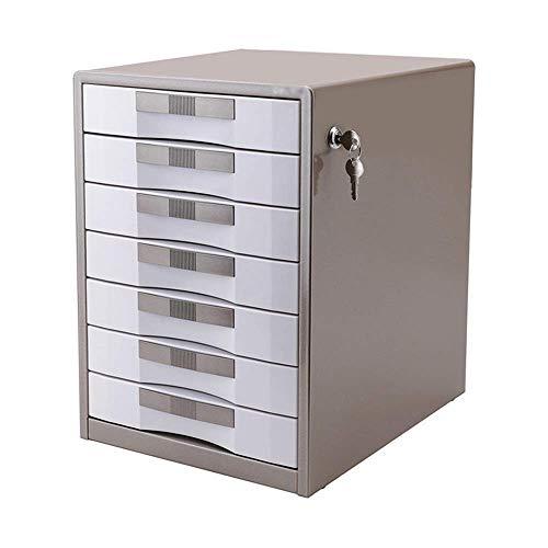 Living Equipment Archivador Archivador dorado Archivador de metal de 7 capas con cerradura Caja de archivo de almacenamiento de escritorio Exhibición de mesa y caja organizadora de escritorio de al