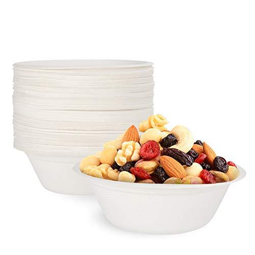 Yorgewd 50 PackPaperBowls Disposable Natural Sugarcane Bowls Eco Friendly Bagasse Alternative Bowls Safe for Hot and Cold Foods - 8oz