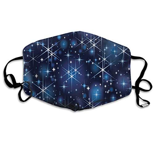 N/C Starlight Shines Blue Star Bright Sky Staub waschbar wiederverwendbar Mund warm winddicht Gesicht für Männer Frauen Outdoor Schutz personalisierbar