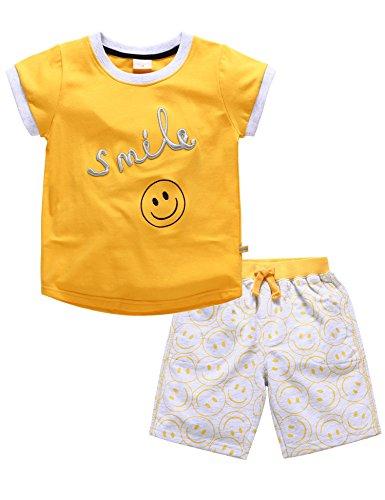 マクスリンディー Ma×Lindy 子供パジャマ 綿100% ベビー服 寝間着 2点セット 半袖 可愛い 微笑み柄 赤ちゃん服 1-5歳 品質認証 男女兼用 イエロー,80CM
