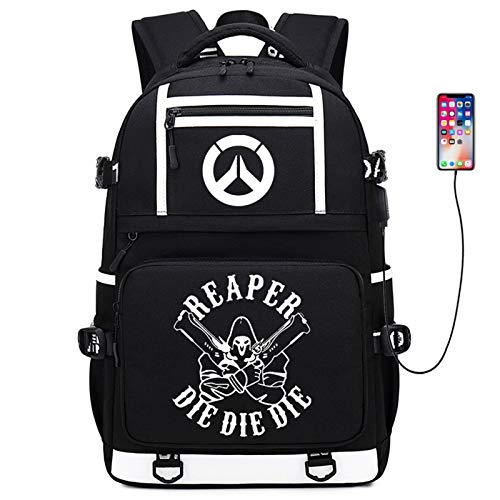 KTSWP Overwatch Laptop Backpack Business Backpack with USB Charging Port Casual Daypacks School Shoulder Bag Water Resistant Men's Sports Backpack Travel Rucksack Gifts for for Teens Girls Boys,C