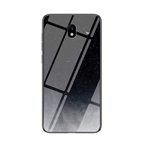 SHIEID Cover per Samsung Galaxy J5 PRO Cover,Vetro temperato Marmo Ultra Sottile Gomma Gel Trasparente scocca Anti-Scivolo Soft Shell per Samsung Galaxy J5 PRO (Star Crescent Moon)