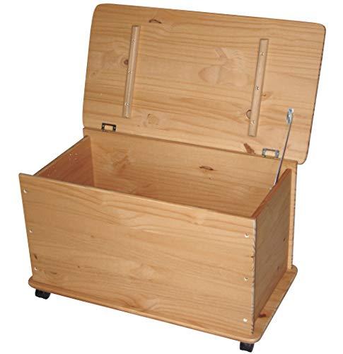 KMH® Grande baule per giocattoli, su ruote, in legno di pino massiccio (naturale) (#800068)