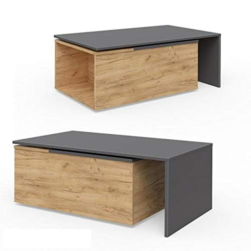 Directachat56 Table Basse coulissante et pivotante, modèle Dresde, 3 Coloris (Anthracite/Beige)