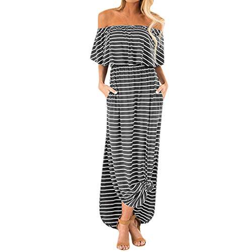 HULKY Summer Strandkleid Für Frauen Elegant Gestreifte Schulter Rüsche Lässig Seitenschlitz Mit Taschen Basic Maxi-Kleid(grau,L2)