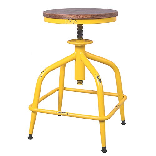 farmhouse style distressed yellow kitchen stool