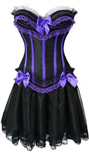 Forever Young Vestido de corsé Ladies Burlesque Moulin Rouge Loita Corset y Falda de Fiesta de gallina Disfraz de Disfraces UE 36