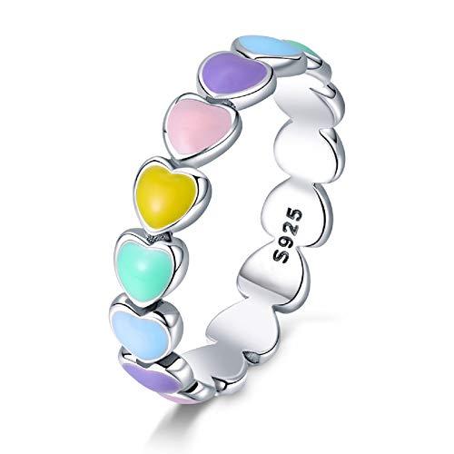 Qings Anillo de Corazón de Arco Iris de Plata de Ley 925 Corazón Colorido a Corazón Amor Sin Fin Anillo de Moda Novia