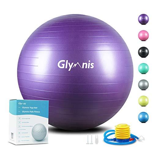 Glymnis Gymnastikball Sitzball 55cm 65cm 75cm Dicker Pilates Ball inkl. Luftpumpe Anti-Burst Yoga Ball Robuster 300kg Maximalbelastbarkeit für Core Fitness Hause Büro …