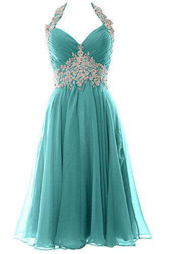 MACloth Women Halter Short Applique Homecoming Wedding Party Cocktail Dress (58, Turquoise)
