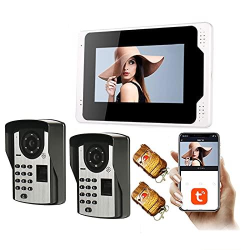 Tuya Smart WiFi Video Doorbell, Intercom, Fingerprint Password 1080P Night Vision Video Door Phone, 7 Inch Monitor Display + 2 Security Camera