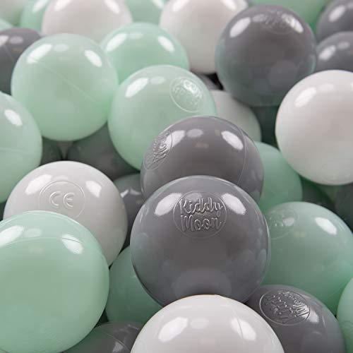 KiddyMoon 100 ∅ 7Cm Bolas Colores De Plástico Para Piscina Certificadas Para Niños, Blanco Gris Menta