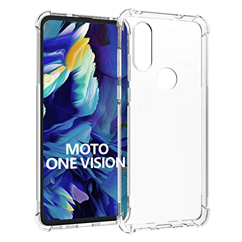 SCL Hülle Für Motorola One Vision Hülle Moto One Vision, Hülle-Kristallklarer Anti-Kratzer Weiche TPU Coverhülle für Motorola One Vision, Ultra klar