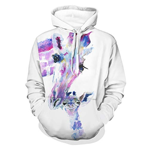 Shinelly Sudadera con capucha para hombre, diseño de jirafa, manga larga, para conducción lateral, con bolsillos blanco XXL