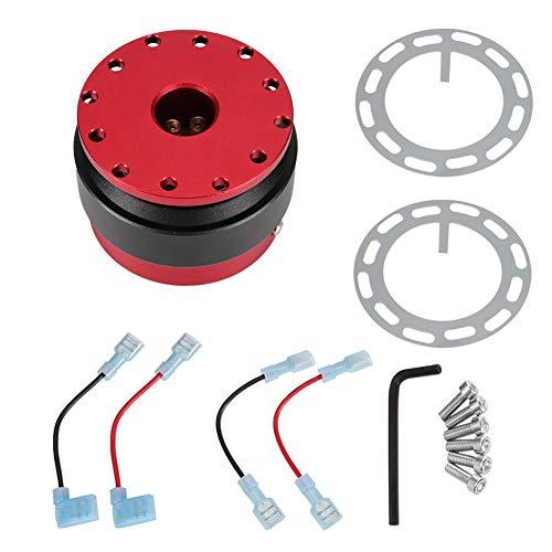 Lenkradnaben Adapter, Fydun Universal Rennwagen Lenkrad Schnellverschluss Adapter Hub Boss Kit mit Button Ball Snap Off Kit Universal (Rot)