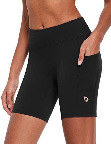 BALEAF EVO Women's Workout Long Compression Running Shorts Spandex Biker Shorts with Pockets Yoga Gym - 7 Inches Black L