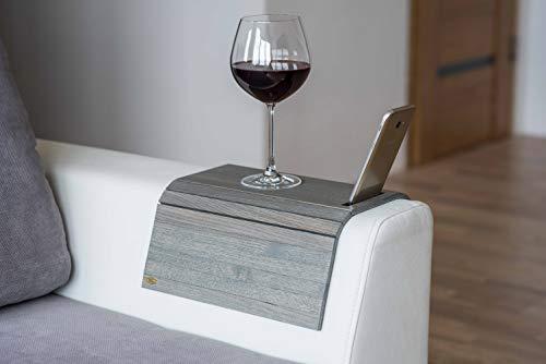 Divano bracciolo divano bracciolo tavolino divano vassoio in legno divano tavolino (nuovo grigio) with phone holder